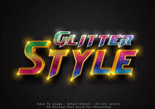3d-glitter mockup tekststijl effectt