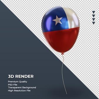 3d globo bandera de chile representación de lámina realista vista izquierda