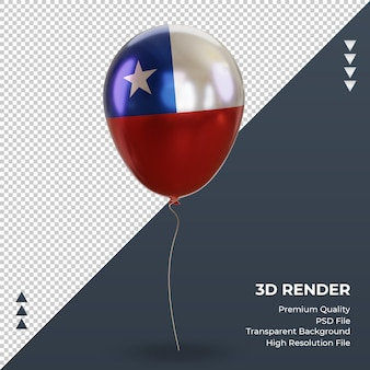 3d globo bandera de chile vista frontal de representación de lámina realista