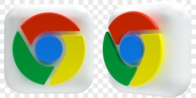3d google chrome-pictogrammen in twee hoeken aan de voorkant en driekwart geïsoleerde illustraties