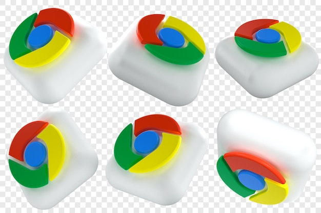 3d google chrome-pictogrammen in zes verschillende hoeken geïsoleerde illustraties