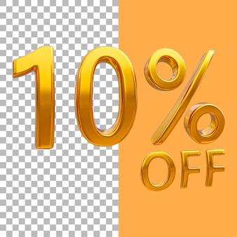 3d-goud nummer 10 procent korting op het weergeven van afbeeldingen