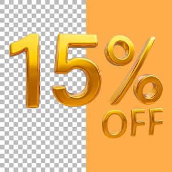 3d-goud nummer 15 procent korting op het weergeven van afbeeldingen