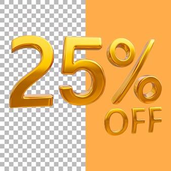 3d-goud nummer 25 procent korting op het weergeven van afbeeldingen