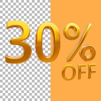 3d-goud nummer 30 procent korting op het weergeven van afbeeldingen