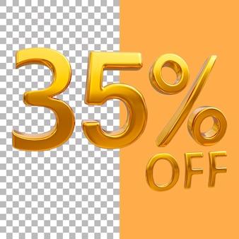 3d-goud nummer 35 procent korting op het weergeven van afbeeldingen
