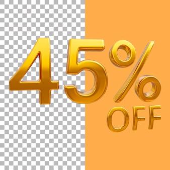 3d-goud nummer 45 procent korting op het weergeven van afbeeldingen