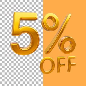 3d-goud nummer 5 procent korting op het weergeven van afbeeldingen