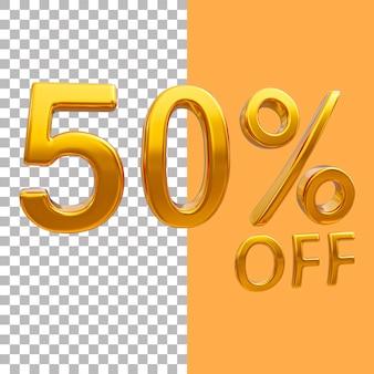 3d-goud nummer 50 procent korting op het weergeven van afbeeldingen