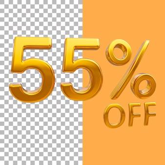 3d-goud nummer 55 procent korting op het weergeven van afbeeldingen