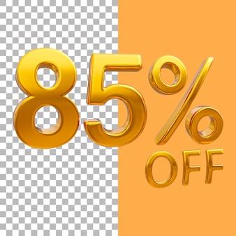3d-goud nummer 85 procent korting op het weergeven van afbeeldingen
