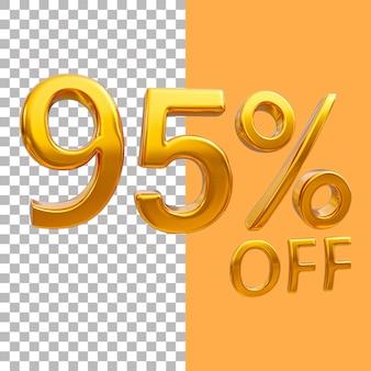 3d-goud nummer 95 procent korting op het weergeven van afbeeldingen