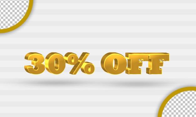 3d gouden dertig procent kortingssjabloon