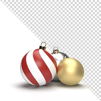 3d gouden en zilveren geïsoleerde kerstmisbal