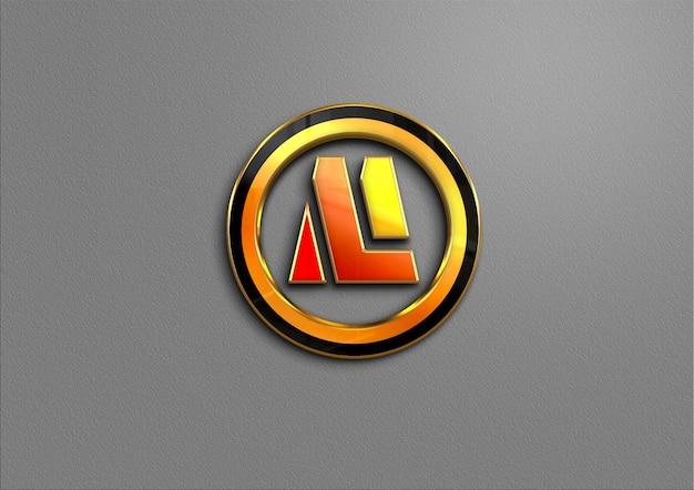 3d-gouden logo-mockup op de muur