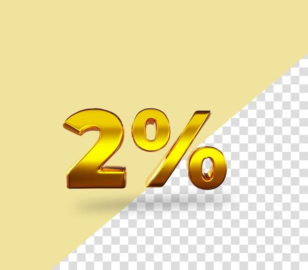3d-gouden nummer 2 procent korting op het weergeven van tekst