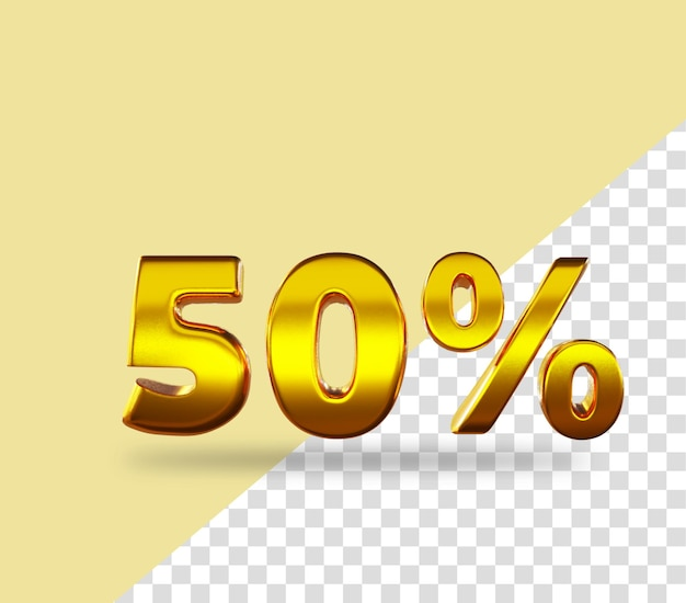 3d-gouden nummer 50 procent korting op het weergeven van tekst