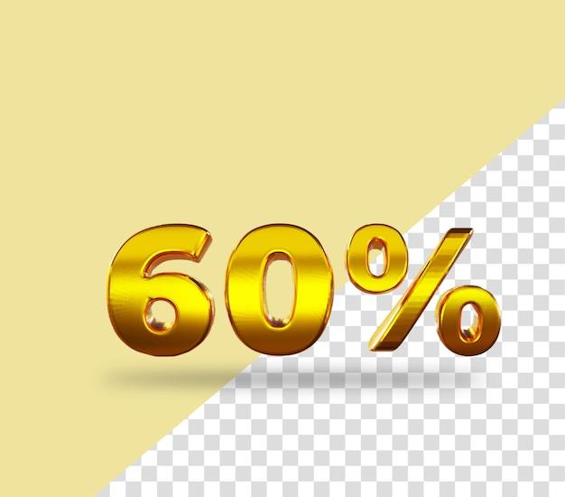 3d-gouden nummer 60 procent korting op het weergeven van tekst