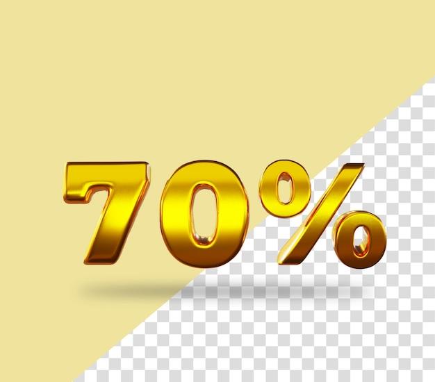 3d-gouden nummer 70 procent korting op het weergeven van tekst