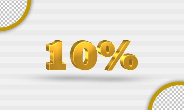 3d gouden tien procent kortingssjabloon