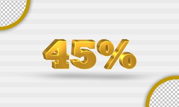 3d gouden vijfenveertig procent kortingssjabloon