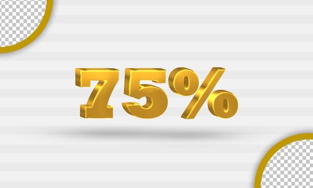 3d gouden vijfenzeventig procent kortingssjabloon