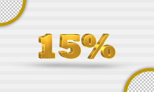 3d gouden vijftien procent kortingssjabloon