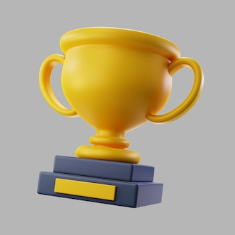 3d gouden winnende trofee