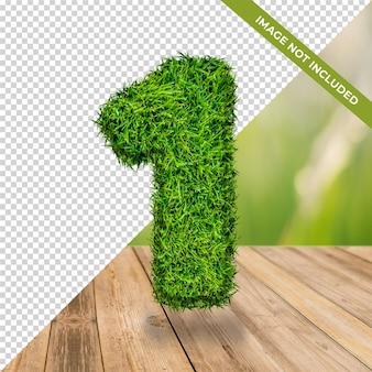 3d graseffect nummer 1 met geïsoleerde achtergrond
