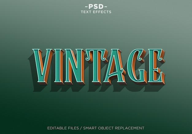 3d groen oranje vintage effect bewerkbare tekst