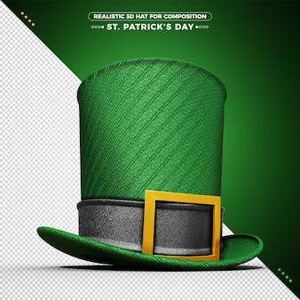 3d-groene hoed voor st patrick's day rendering