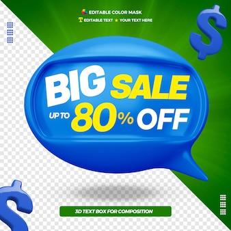 3d grote verkoop ballon bericht voorkant pictogram Premium Psd