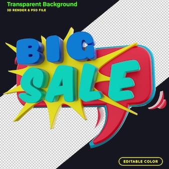 3d grote verkoop kortingsbadge-promotie