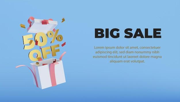3d grote verkoop met geschenkdoos en gouden tekstsjabloon
