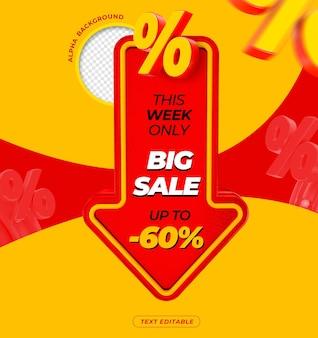 3d grote verkoopbanner met tot 60 kortingsweergave