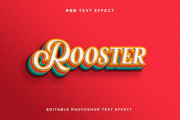 3d haan teksteffectsjabloon met vintage stijl