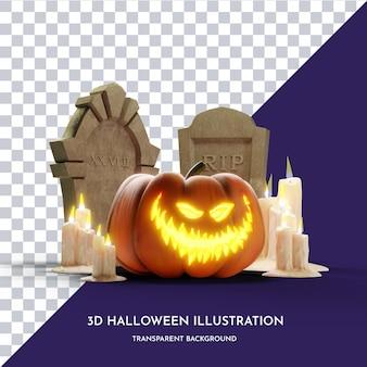 3d halloween illustratie jackolantern graven en kaarsen op geïsoleerde background