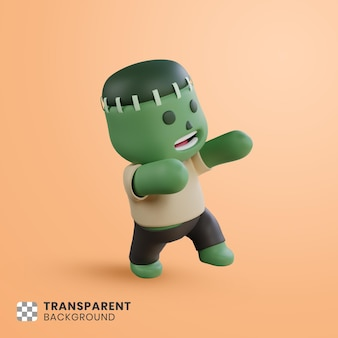 3d halloween-personage wandelende zombie