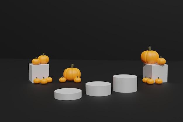 3d halloween-pompoenen en podium voor productpresentatie