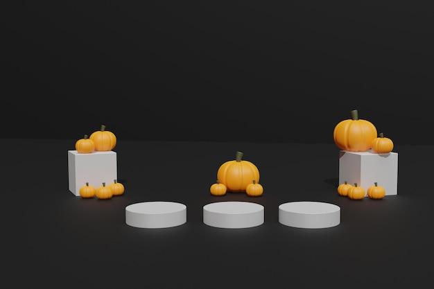 3d halloween-pompoenen en podium voor productreclame
