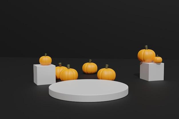3d halloween-pompoenen en podium voor productstand