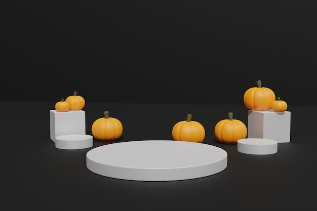 3d halloween-pompoenen en podium voor productweergave