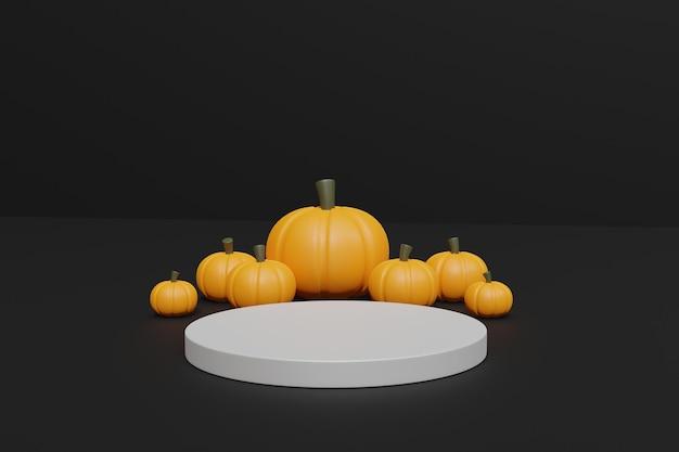 3d halloween-pompoenen en podium