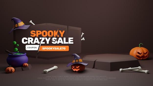 3d halloween promotie korting verkoop podium Gratis Psd