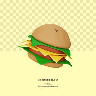3d hamburger illustratin object gerenderd premium psd