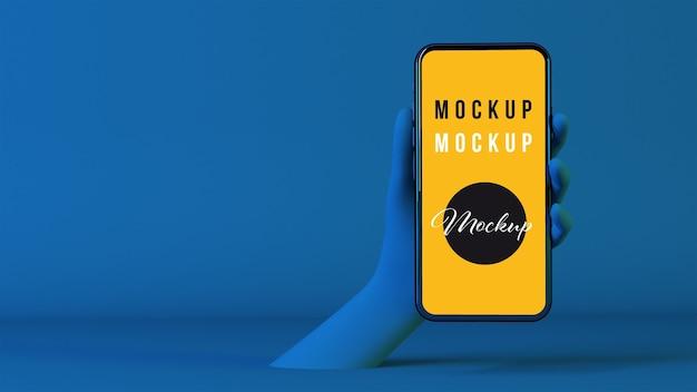 3d-hand bij het houden van smartphone-mockup
