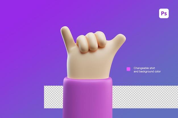 3d hand cartoon afbeelding hangen los gebaar