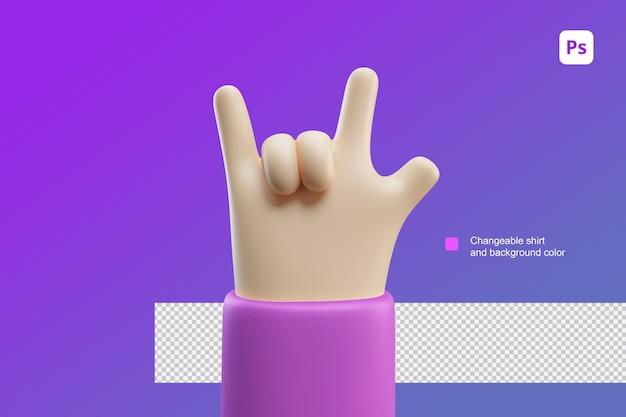 3d hand cartoon illustratie rock and roll cool gebaar