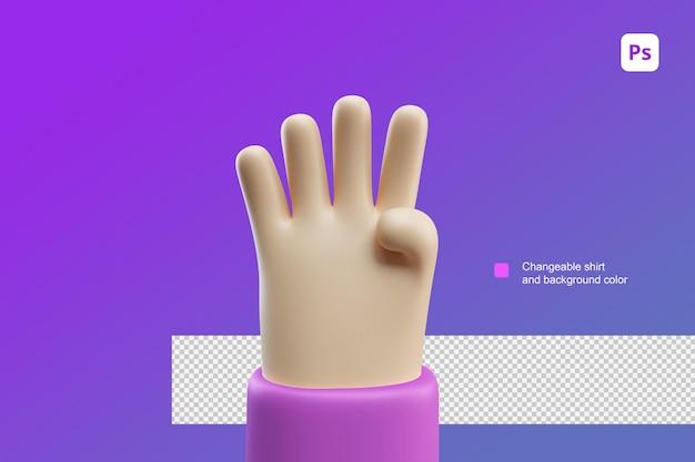 3d hand cartoon illustratie vier gebaar