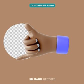 3d-hand duimen omhoog en pink gebaar icoon